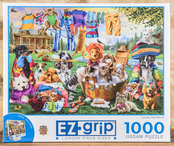 Laundry Day Rascals - 1000 Piece Puzzle EZ Grip