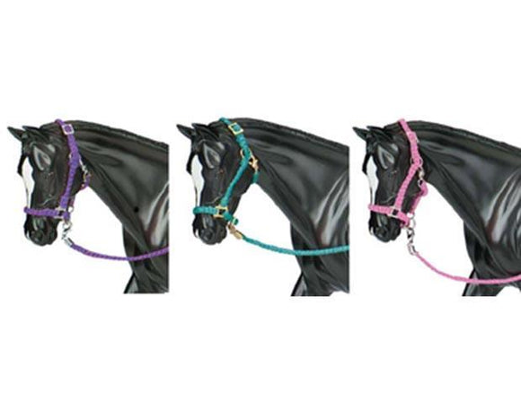 Nylon Halter With Lead Rope - 3 piece assortment in hot colors