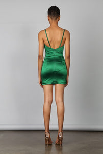 OPIUM EMERALD BRALETTE MINI DRESS