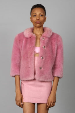 DRAGON ROSE FAUX FUR JACKET