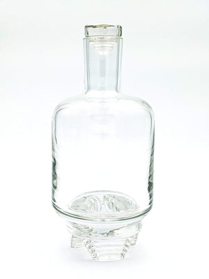 Handblown glass decanter with unique three leg layered base made by Pittsburgh glass artist John Sharvin perfect for your favorite bourbon, rum, gin, whiskey, vodka or your favorite spirit
