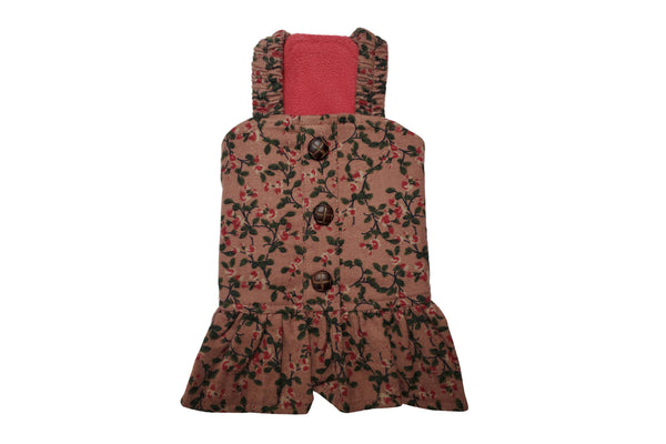 Floral navy brown dress - DogClothe.com