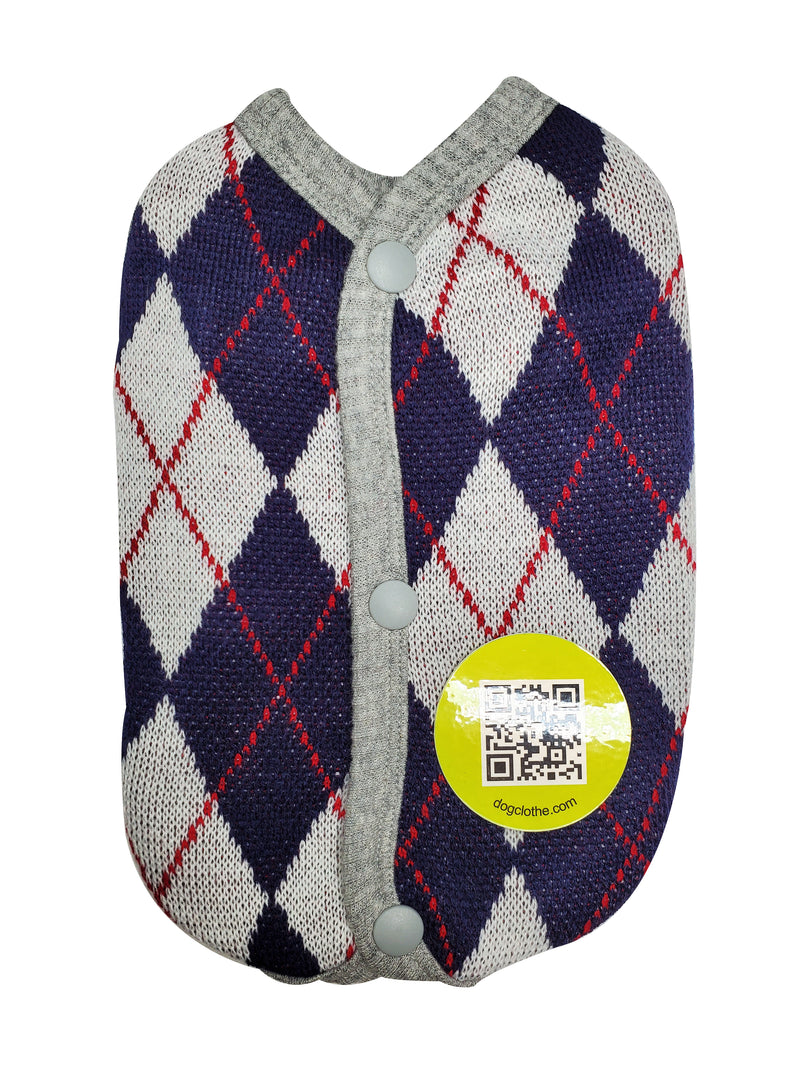 dog argyle patterned button up sweater - DogClothe.com