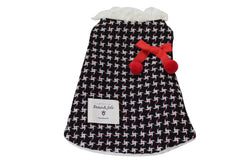 Black and White Patterned dress with Red bow and accent label - DogClothe.com