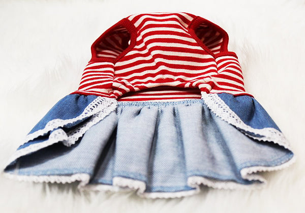 Cute red and white striped overall style dress - DogClothe.com