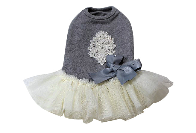 Grey dress with lace and white skirt - DogClothe.com