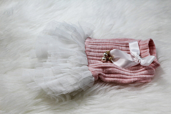 Pink sweater material dress - DogClothe.com