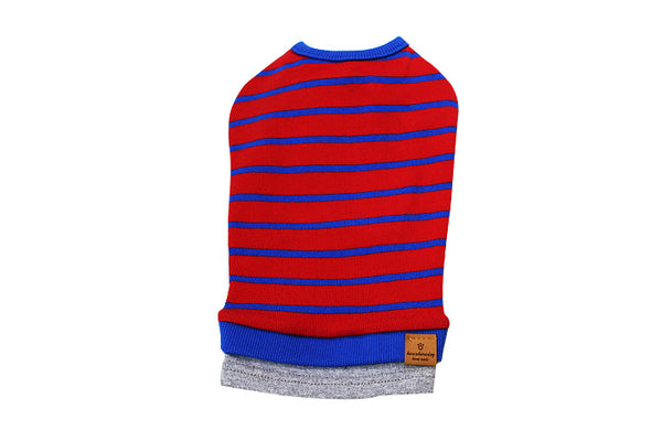 Blue and red striped shirt - DogClothe.com
