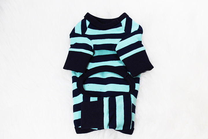 All-in-one blue and black striped one piece onesie - DogClothe.com