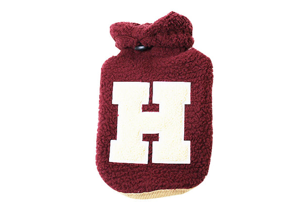 """H"" fleece hoodie in maroon and beige - DogClothe.com"