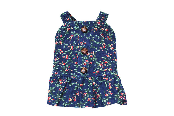 Floral navy blue dress - DogClothe.com