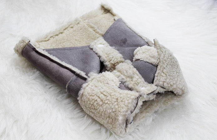 Faux Suede Coat in Black, Lavender and Light Brown - DogClothe.com