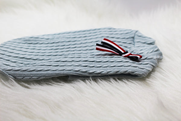 Sky Blue Sweater with black bow - DogClothe.com