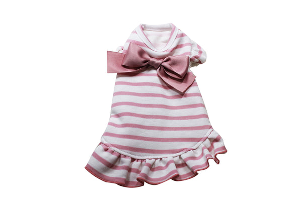 Pink and white striped dress with bow - DogClothe.com