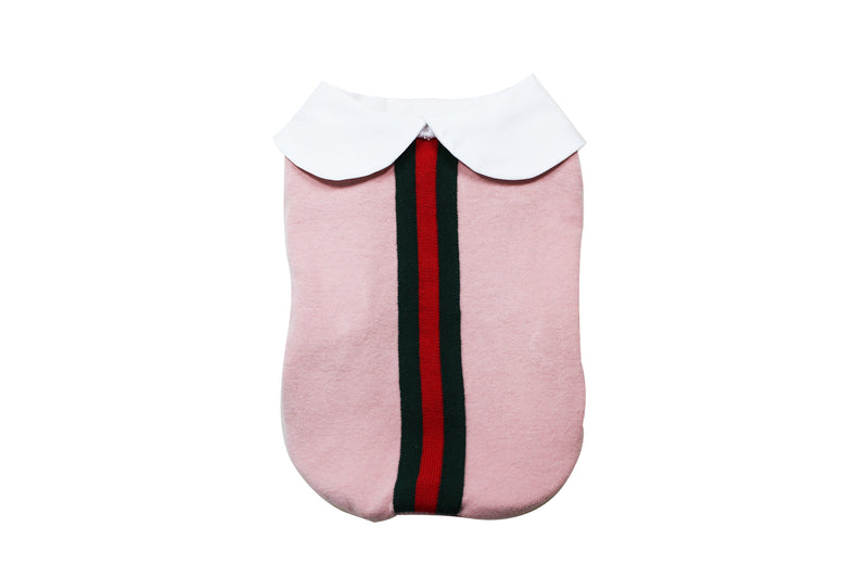 Collared pink dress with green and red stripe - DogClothe.com