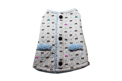 White jacket with teddy bear print and blue sherpa lining - DogClothe.com