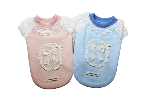 Cute dog shirt with lace sleeves and lace decorations - DogClothe.com