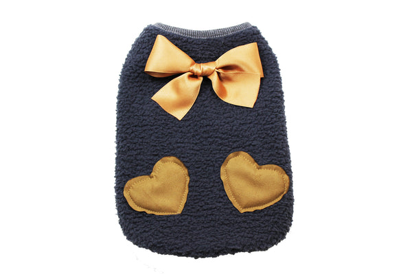 Dark gray fleece sweater with bronze bow and brown heart design - DogClothe.com