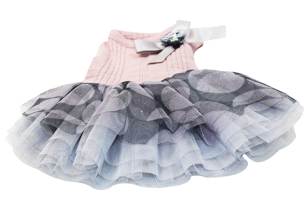 Elegant pink dog dress with greyish-blue tulle skirt #1925103