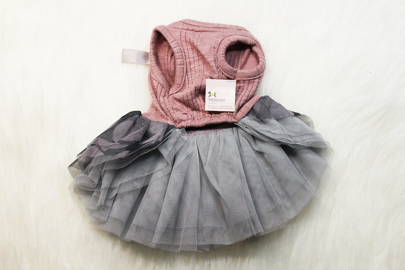 Elegant pink dog dress with greyish-blue tulle skirt - DogClothe.com