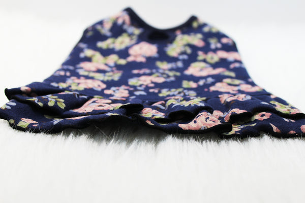 Cute floral dress in navy blue and royal blue #1924227