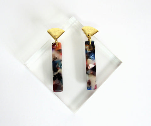 blossom drop earrings from Leo and Lynn Jewelry handmade jewelry statement earrings rainbow gold spring style casual style limited edition