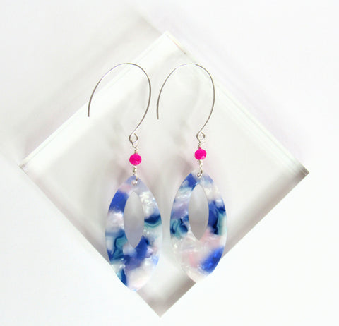 Iris drop earring from Leo and Lynn Jewelry handmade jewelry statement earrings lightweight purple blue blush hot pink spring style casual limited edition
