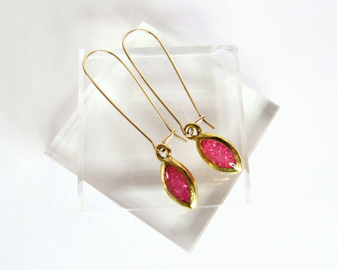 lynette drop earrings spring style hot pink gold filled kidney hooks casual style spring style limited edition