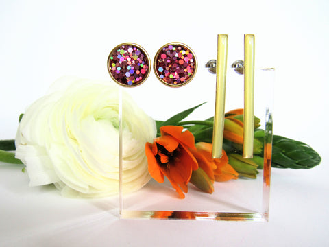 Calla stud earring set from Leo and Lynn Jewelry handmade resin casual jewelry gold line stud rose holo glitter circle stud spring style limited edition collection