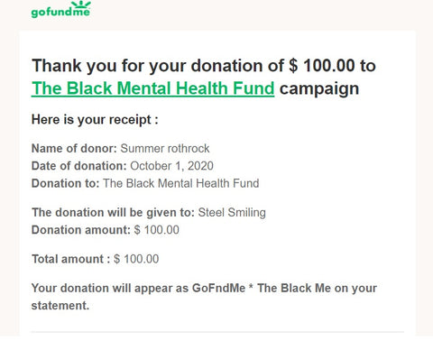 donation receipt $100 to Steel Smiling