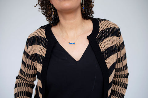 bella bar necklace from leo and lynn jewelry handmade resin glitter jewelry casual everyday style pittsburgh