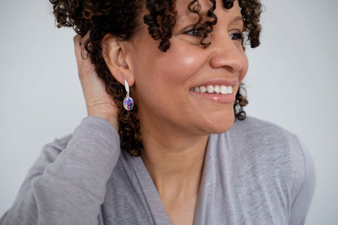 everly drop earrings from leo and lynn jewelry handmade resin jewelry casual everyday style pittsburgh colorful bright jewelry