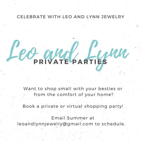 image announcing private and virtual parties for Leo and Lynn Jewelry online shopping