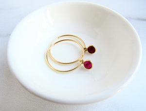 The Summer Earring - Ruby Gold Hoop Earrings