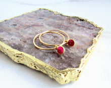 Load image into Gallery viewer, The Summer Earring - Ruby Gold Hoop Earrings
