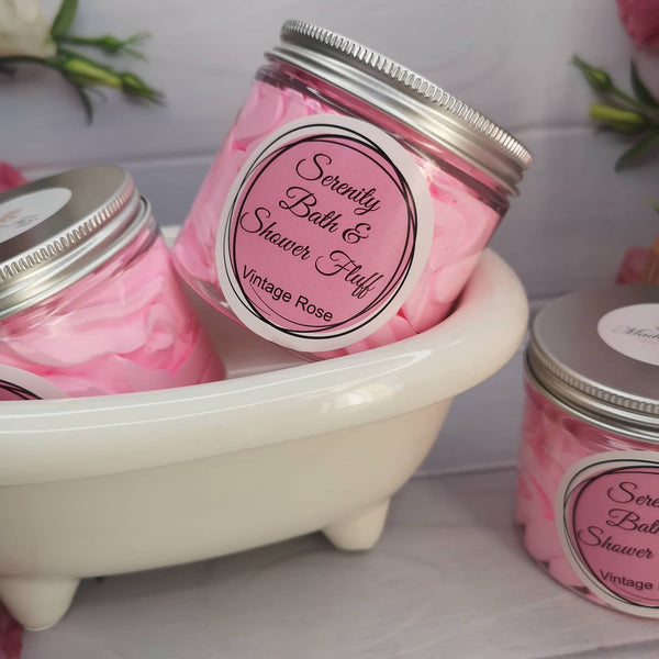 Serenity Bath & Shower Fluff With Rose Essential Oil