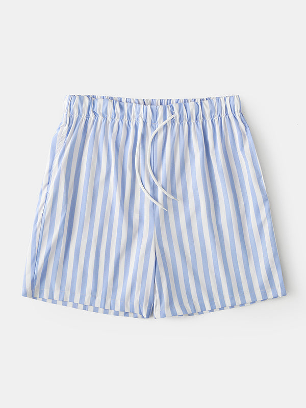 Men Lightweight Casual Striped Shorts Summer Breathable Beach Board Shorts Loungewear
