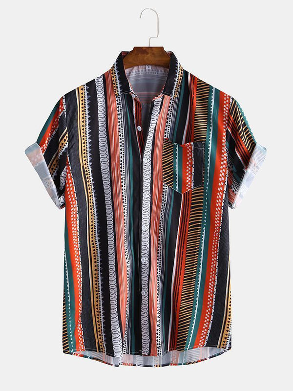 Mens Multi Color Stripe Chest Pocket Breathable Short Sleeve Shirts