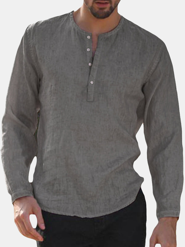 Mens Casual Long Sleeve T-shirts Button Down Retro Plain Curved Hem Top Shirts