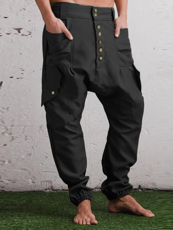 Mens Baggy Harem Pants Solid Color Button Loose Casual Crotch Pants