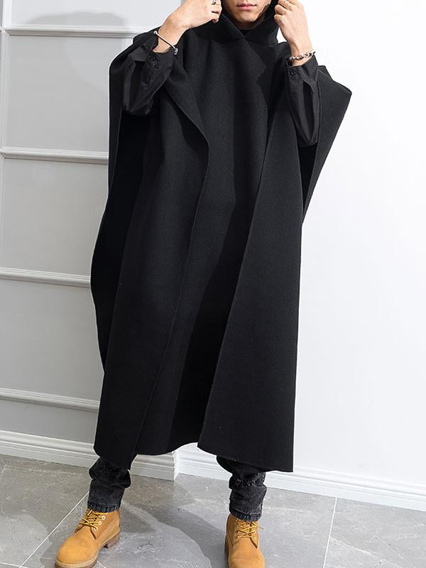 Mens Gothic Baggy Cape Cloak Hooded Poncho Long Trench Coat Jacket Outwear Tops