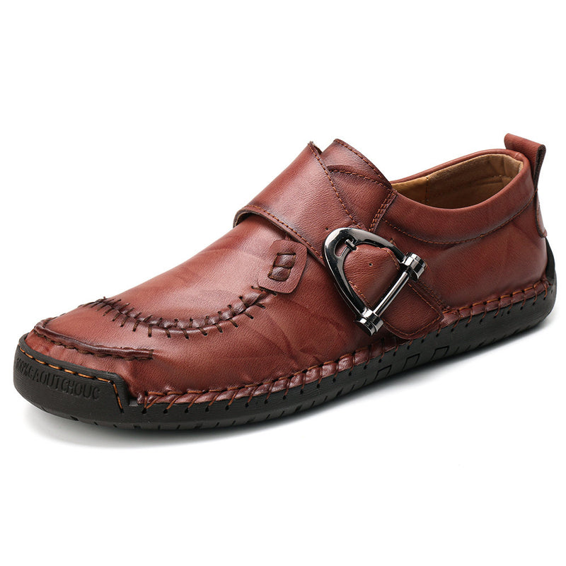 Men Stylish Metal Buckle Hand Stitching Comfy Round Toe Leather Shoes