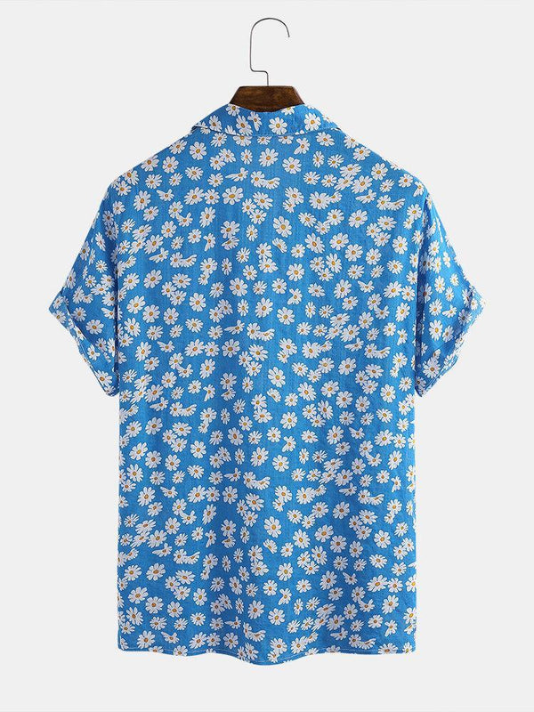 Daisy Spray Floral Printed Cotton Holiday Casual Short Sleeve Shirt For Men Women