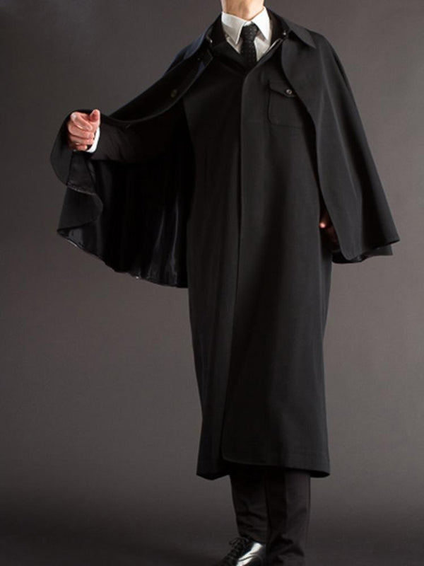 Mens Solid Color Lapel Pocket Warm Cloak Long Coat SKUG83128