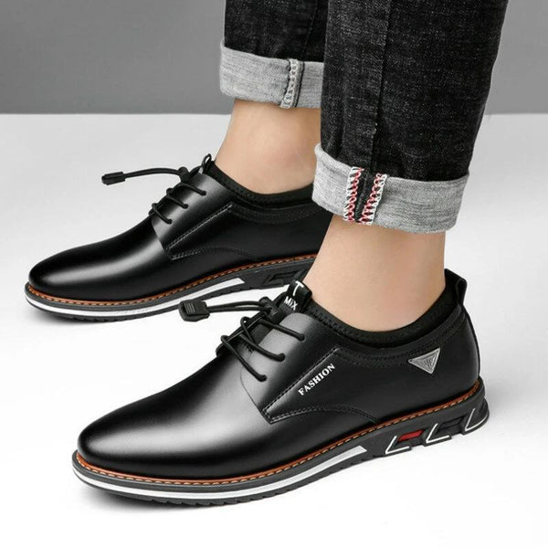 Men Microfiber Leather Non Slip Soft Elastic Lace Casual Shoes