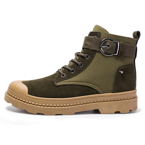 Men Fabric Anti-collision Metal Buckle Outdoor Casual Tooling Boots