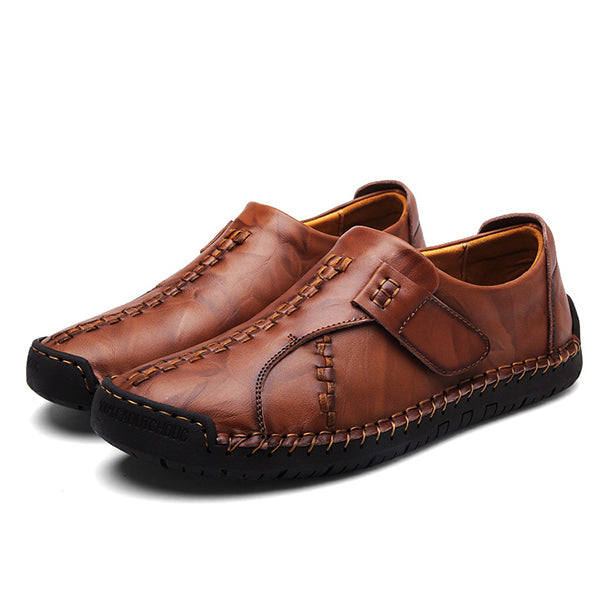 Menico Men's Vintage Hand Stitching Hook-Loop Soft Leather Loafers