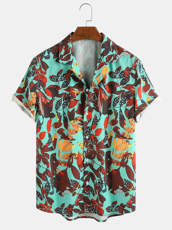 Mens Floral & Leaf Printed Casual Holiday Short Sleeve Shirts