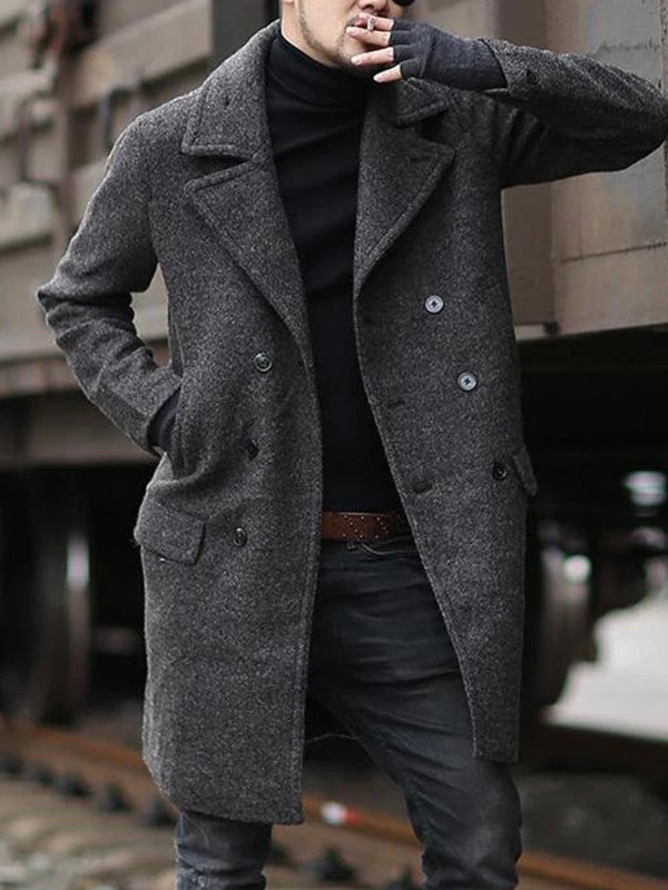 Mens Vintage Long Sleeve Coat Trench Winter Warm Long Jacket Peacoat Outwear Top