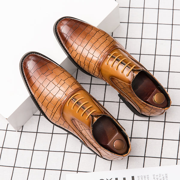 Men Microfiber Leather Non Slip Crocodile Pattern Business Formal Shoes